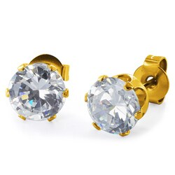 Gold Plated Steel Cubic Zirconia Stud Earrings (6mm) - White