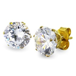 West Coast Jewelry Goldplated Steel 7 mm Cubic Zirconia Stud Earrings