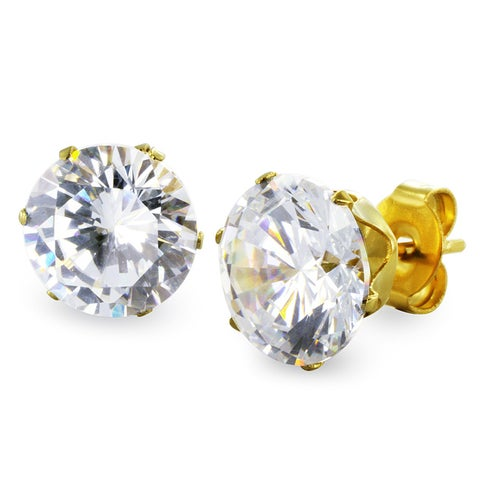 Gold Plated Steel 8mm Cubic Zirconia Stud Earrings (8mm) - White