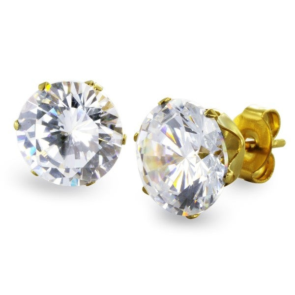 Gold Plated Steel Cubic Zirconia Stud Earrings (9mm) - White. Opens flyout.