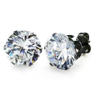 Black Stainless Steel Cubic Zirconia Stud Earrings (10 mm)