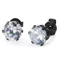 Black Stainless Steel Cubic Zirconia Stud Earrings (6 mm)