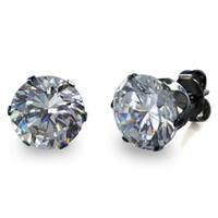 Black Stainless Steel Cubic Zirconia Stud Earrings (8 mm)