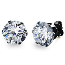 Black Stainless Steel Cubic Zirconia Stud Earrings (9 mm)