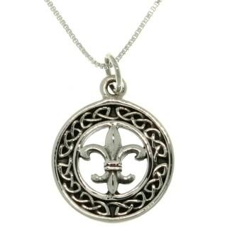Sterling Silver Celtic Fleur De Lis Necklace