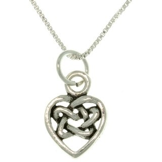 Sterling Silver Celtic Knot Heart Necklace