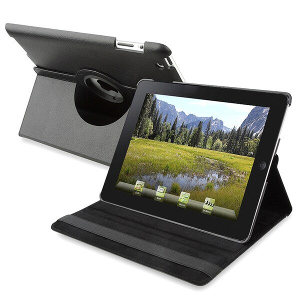 Black Leather Swivel Cover Case for Apple iPad 2
