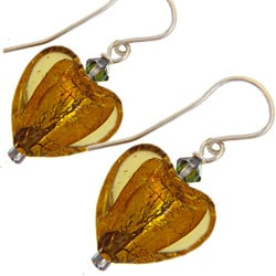 Misha Curtis Sterling Silver Crystal and Glass Heart Earrings