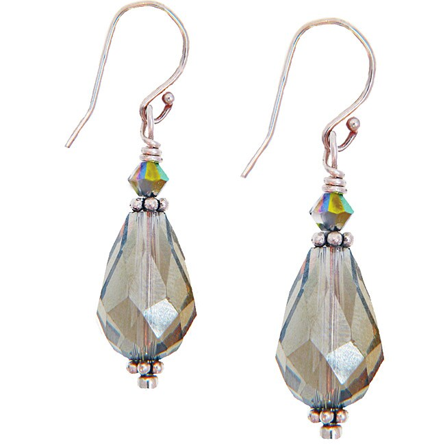 Misha Curtis Sterling Silver Crystal Drop Earrings