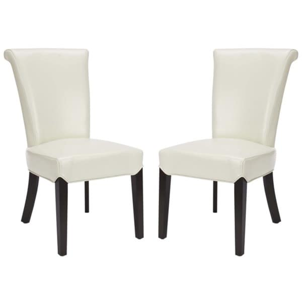 Safavieh En Vogue Dining Madison Cream Leather Side Chairs (Set of 2)