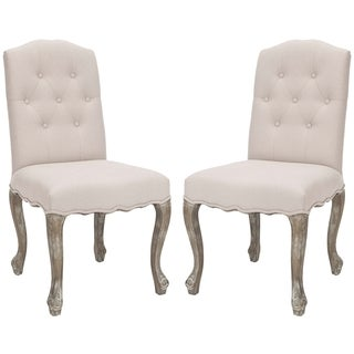 Safavieh Old World Dining Nirot Beige Grey Linen Side Chairs (Set of 2)