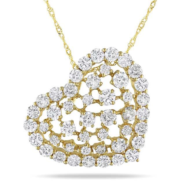 Miadora 14k Yellow Gold 3ct TDW Diamond Heart Pendant