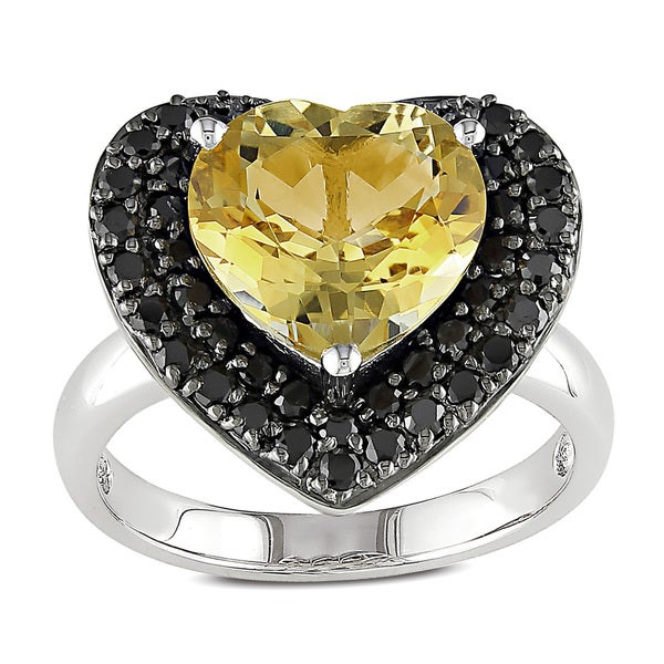 Miadora Sterling Silver Citrine and Black Spinel Heart Ring