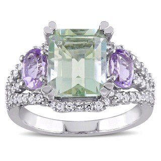 Miadora Sterling Silver Amethyst and Rose de France Ring