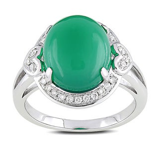 Miadora Signature Collection 14k White Gold 5 1/3ct TGW Chalcedony 1/6ct TDW Diamond Ring (G-H, SI1-SI2)