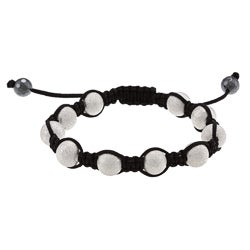 La Preciosa Frosted Silvertone Bead Macrame Bracelet