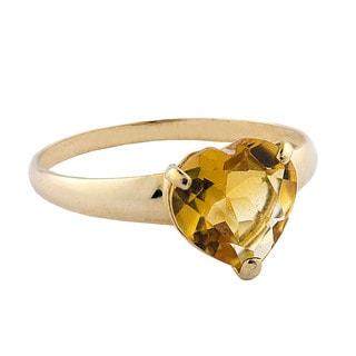 Gioelli 10k Yellow Gold Heart-cut Citrine Solitaire Ring