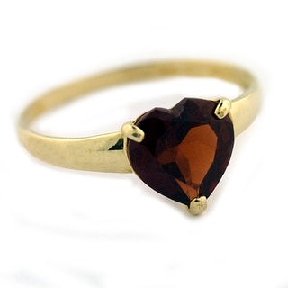 Gioelli 10k Yellow Gold Heart-cut Garnet Solitaire Ring