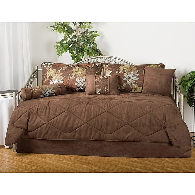 Victor Mill Maxwell Floral Brown 7-piece Microfiber Daybe...