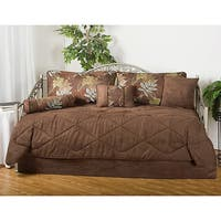 Maxwell Floral Brown 7-piece Microfiber Daybed Set