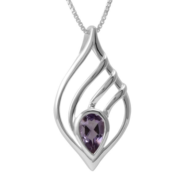Handmade Sterling Silver Amethyst Teardrop Necklace (Thailand)