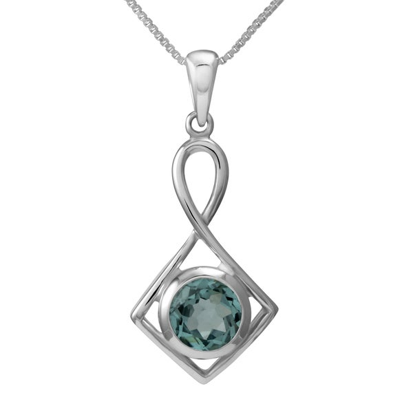 Sterling Silver Blue Topaz Necklace (Thailand)