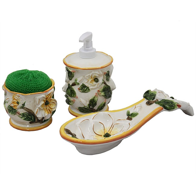Floral 3-piece Soap Dispenser, Scrubbing Holder, and Spoon Rest Countertop Set