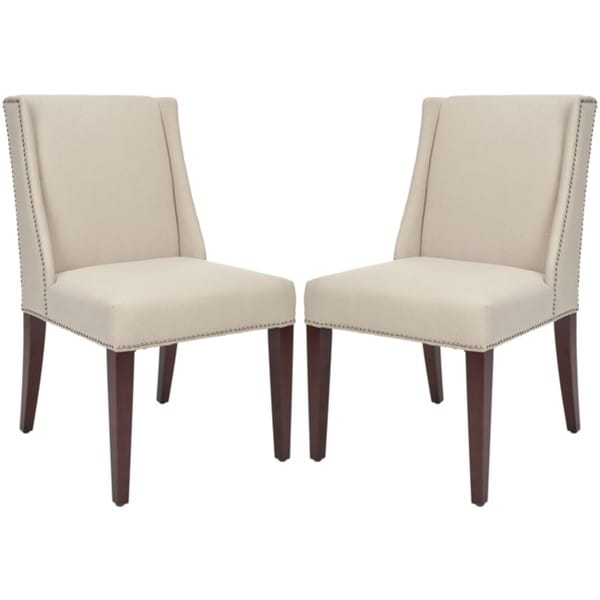Safavieh En Vogue Dining Noho Beige Linen Side Chairs (Set of 2)