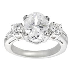 Journee Collection Silvertone Oval-cut CZ Bridal Ring