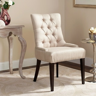 Safavieh En Vogue Dining Nimes Beige Tufted Linen Side Chair
