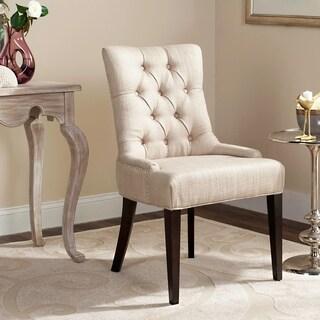 Safavieh En Vogue Dining Nimes Beige Tufted Linen Dining Chair