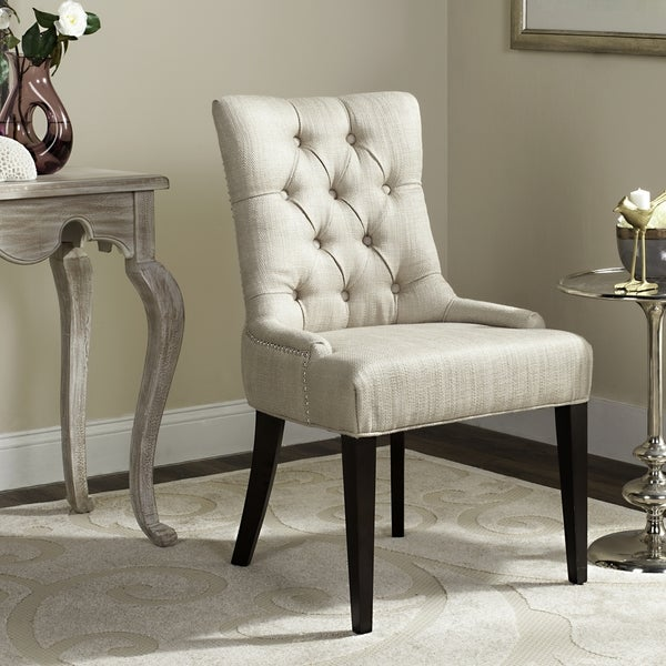 Safavieh En Vogue Dining Nimes Beige Tufted Linen Dining Chair