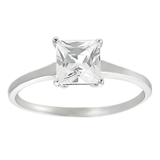 Journee Collection Silvertone Princess-cut Cubic Zirconia Ring