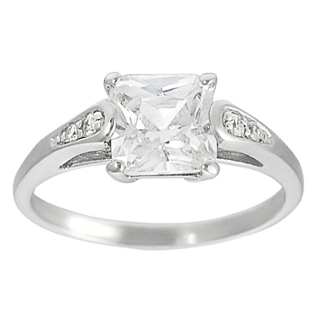 Journee Collection  Sterling Silver White Princess-cut Cubic Zirconia Ring