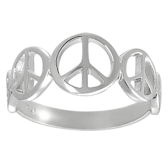 Journee Collection Sterling Silver Peace Sign Ring - Thumbnail 0