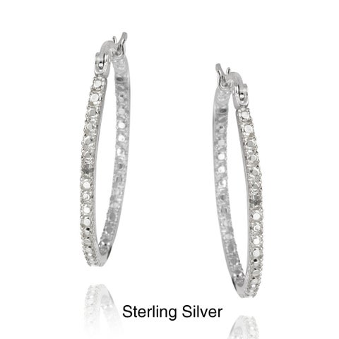 DB Designs Silver Yellow or White Diamond Accent Oval Hoop Earrings