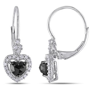 Miadora 10k White Gold 1ct TDW Black and White Diamond Earrings