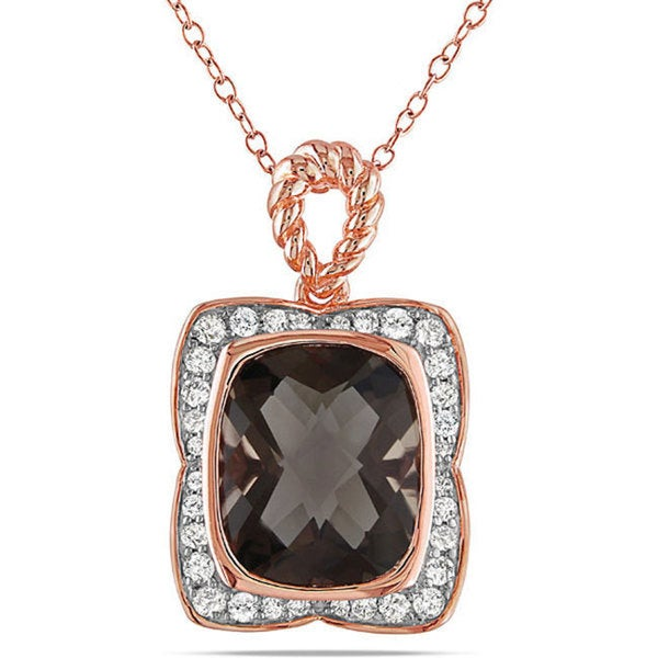 Miadora Pink Silver Smokey Quartz and 1/3ct TDW Diamond Necklace (G-H, I3)