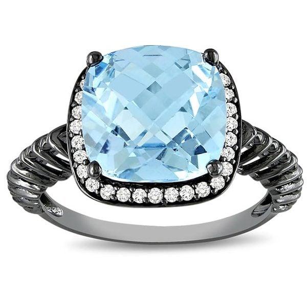 Rhodium/ 10k Gold Blue Topaz and 1/6ct TDW Diamond Ring (G-H, I2-I3)