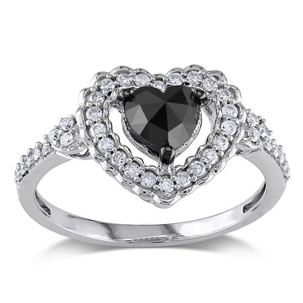 Miadora 10k Gold 1ct TDW Black and White Diamond Heart Ring (G-H, I2-I3)