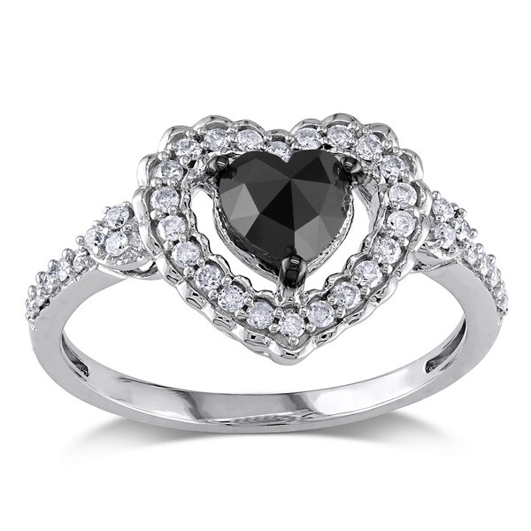 Miadora 10k Gold 1ct TDW Black and White Diamond Heart Ring