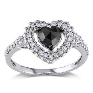 Miadora 10k Gold 1ct TDW Black and White Diamond Heart Ring