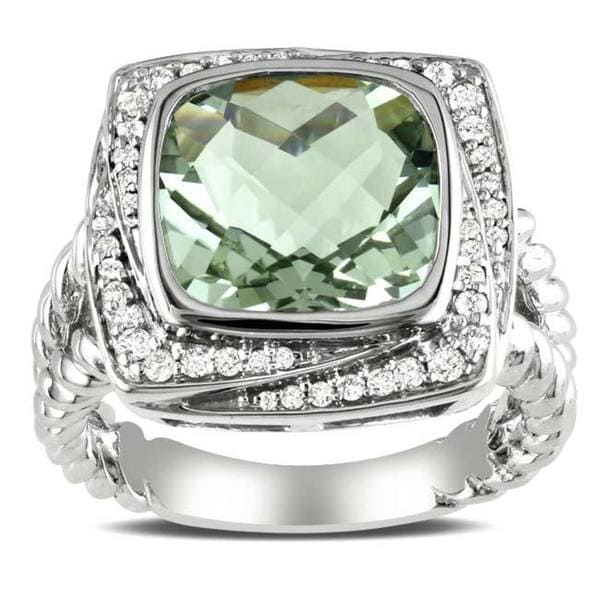 Miadora Sterling Silver Cushion-cut Green Amethyst and 1/4ct TDW Diamond Cocktail Halo Ring (G-H, I2-I3)
