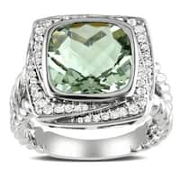 Miadora Sterling Silver Cushion-cut Green Amethyst and 1/4ct TDW Diamond Cocktail Halo Ring (G-H, I2