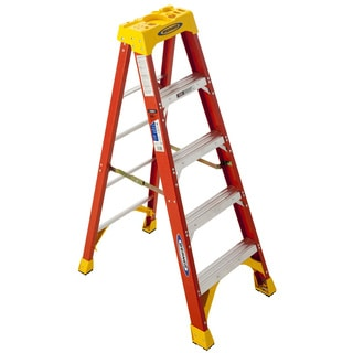 Shop Werner Five Foot Orange Fiberglass Stepladder Free