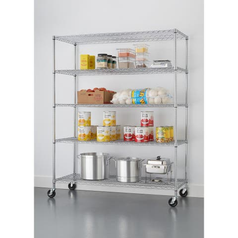 "TRINITY 5-Tier 60"" x 24"" x 72"" Wire Shelving Rack, NSF Certified, Chrome"