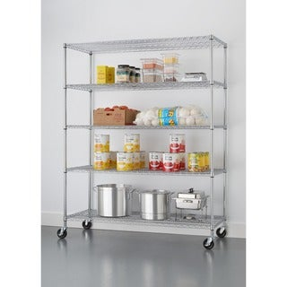 Trinity 5-tier Heavy Duty Commercial Chrome Wire Shelving Rack with Wheels