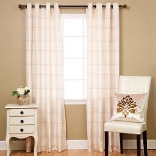 Aurora Home Faux Silk Chenille Check 96-inch Curtain Panel Pair - 52 x 95