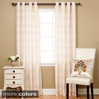Aurora Home Faux Silk Chenille Check 96-inch Curtain Panel Pair