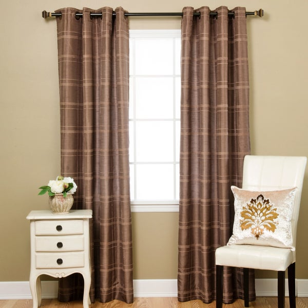 Aurora Home Faux Silk Chenille Check 84-inch Curtain Panel Pair